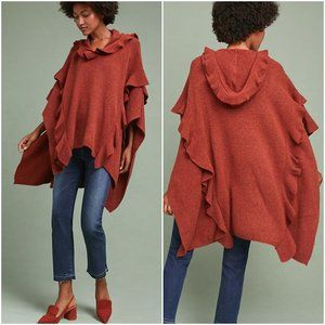 Anthropologie (Troubadour) Hooded Ruffle Poncho